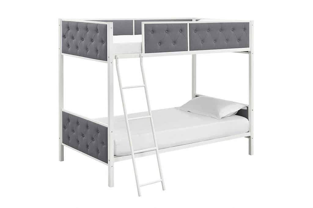 DHP Chesterfield Upholstered Linen Bunk Bed, Twin Size - White Metal/ Grey Upholstery