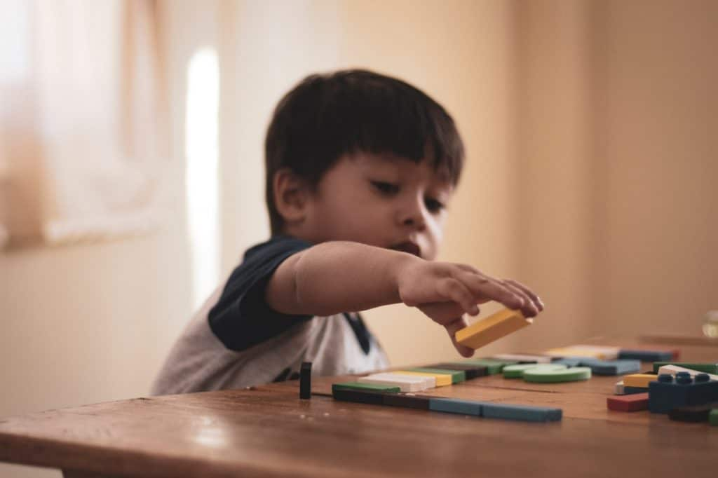 Young little boy holding block toy