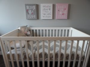 Best Convertible Cribs inside the nursery room with owl stuffed toy