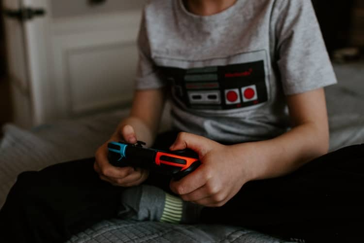 a boy playing video game