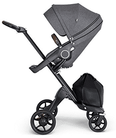 Stokke Xplory V6 Black Chassis Stroller with Brown Leatherette Handle, Black Melange