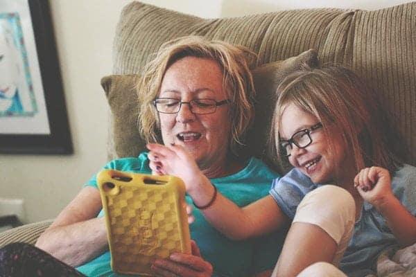 Grandma and Girl using Tablet
