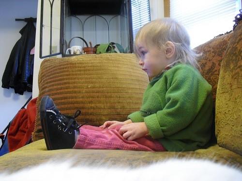 Baby sitting while watching tv