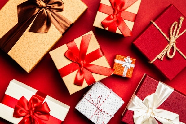 Gifts with red background