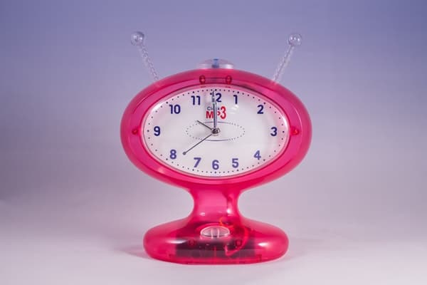 Pink and white Alarm Clock