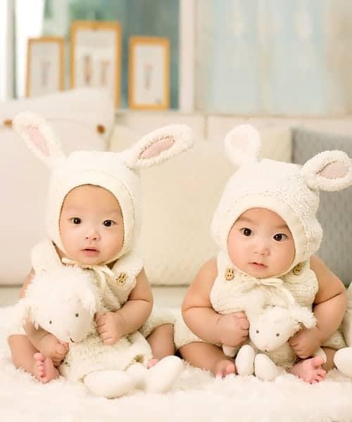 twins wearing bunny