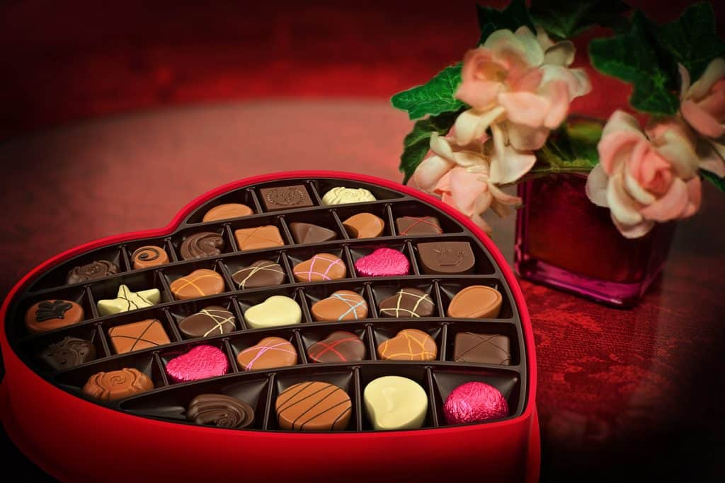 A heart shaped box of chocolate to help you celebrate a romantic valentine's with kids